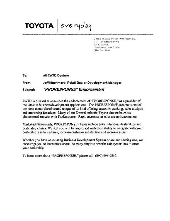 Proresponse Com Automotive Crm Email Follow Up Letters